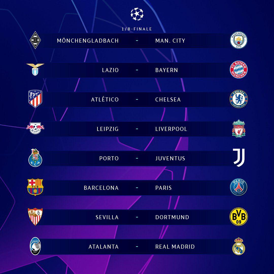 قرعه کشی مرحله یک هشتم نهایی لیگ قهرمانان اروپا انجام شد 🔥