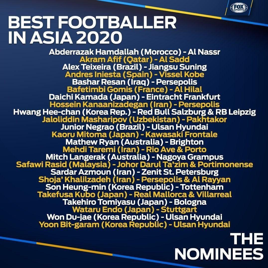 ♦️طارمی، خلیل زاده، کنعانی زادگان، آزمون و رسن نامزد بهترین بازیکن سال آسیا شدند