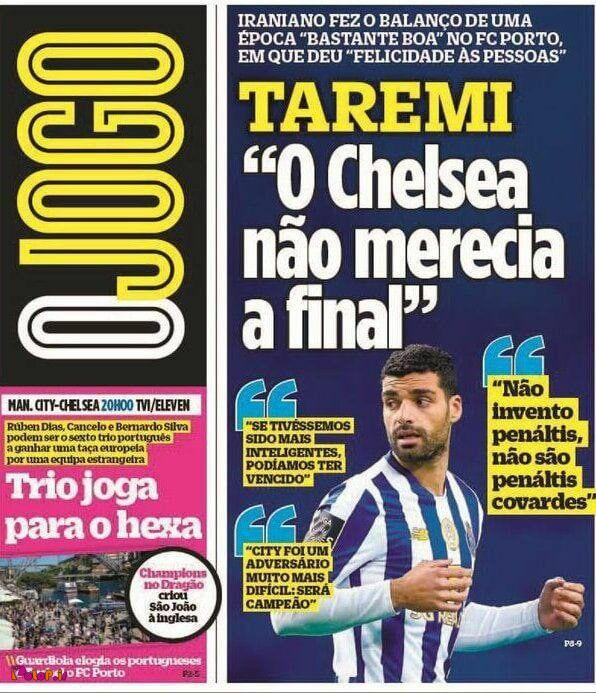 روزنامه اوژوگو پرتغال صحبتهای طارمی درباره لیگ قهرمانان اروپا رو تیتر کرده
