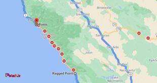 این نقشه یک بزرگراه در مناطق ساحلی ایالت کالیفرنیاست